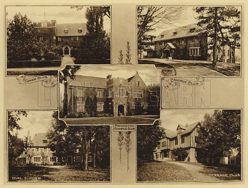 Tower Club; Cannon Club; Princeton Campus Club; Dial Lodge; Terrace Club. Illustration for a booklet on Princeton University (Princeton University Store, c 1915).  Gravure printed.