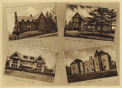 Court Club; Key and Seal Club; Gateway Club; Arbor Inn. Illustration for a booklet on Princeton University (Princeton University Store, c 1915).  Gravure printed.