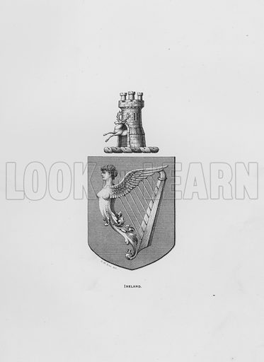 Ireland. Illustration for The Book of Public Arms, A Cyclopaedia, by Arthur Charles Fox-Davies and M E B Crookes (Jack, 1894).