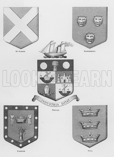 St Albans; Shrewsbury; Partick; Evesham; Hull. Illustration for The Book of Public Arms, A Cyclopaedia, by Arthur Charles Fox-Davies and M E B Crookes (Jack, 1894).