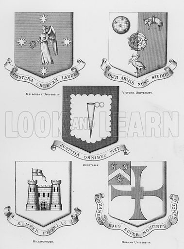Melbourne University; Victoria University; Dunstable; Hillsborough; Durham University. Illustration for The Book of Public Arms, A Cyclopaedia, by Arthur Charles Fox-Davies and M E B Crookes (Jack, 1894).