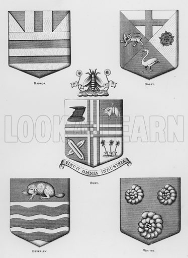 Radnor; Gorey; Bury; Beverley; Whitby. Illustration for The Book of Public Arms, A Cyclopaedia, by Arthur Charles Fox-Davies and M E B Crookes (Jack, 1894).