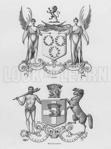 Cupar; New Galloway. Illustration for The Book of Public Arms, A Cyclopaedia, by Arthur Charles Fox-Davies and M E B Crookes (Jack, 1894).