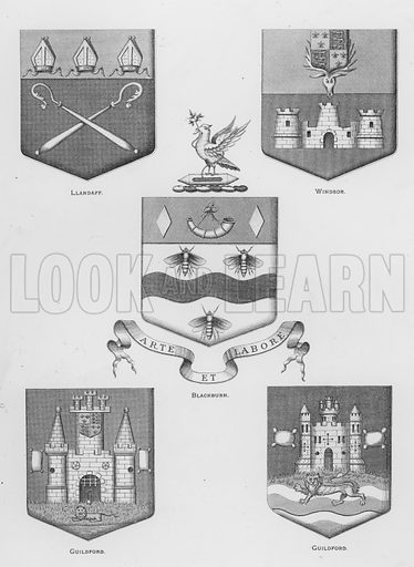 Llandaff; Windsor; Blackburn; Guildford. Illustration for The Book of Public Arms, A Cyclopaedia, by Arthur Charles Fox-Davies and M E B Crookes (Jack, 1894).