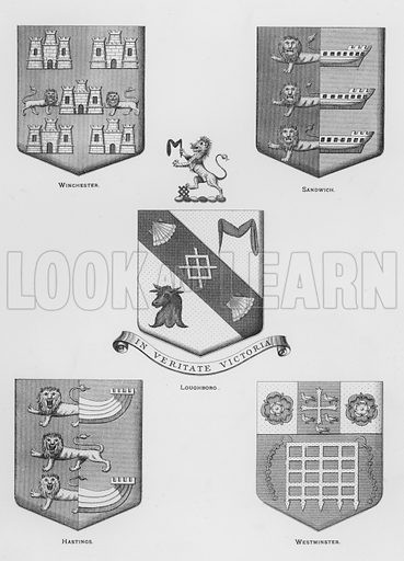 Winchester; Sandwich; Loughboro; Hastings; Westminster. Illustration for The Book of Public Arms, A Cyclopaedia, by Arthur Charles Fox-Davies and M E B Crookes (Jack, 1894).