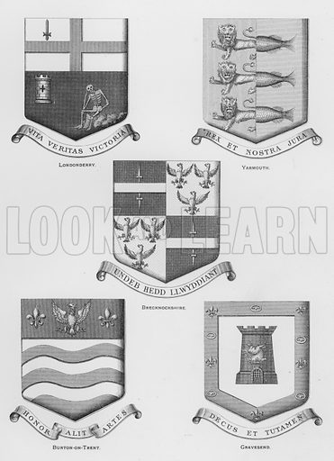 Londonderry; Yarmouth; Brecknockshire; Burton-on-Trent; Gravesend. Illustration for The Book of Public Arms, A Cyclopaedia, by Arthur Charles Fox-Davies and M E B Crookes (Jack, 1894).