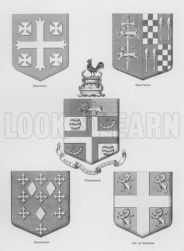 Abingdon; Droitwich; Harrogate; Stockport; County of Durham. Illustration for The Book of Public Arms, A Cyclopaedia, by Arthur Charles Fox-Davies and M E B Crookes (Jack, 1894).