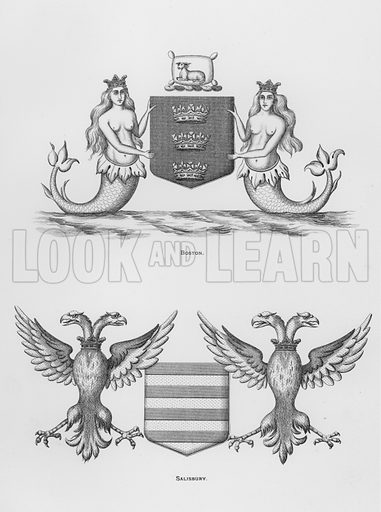 Boston; Salisbury. Illustration for The Book of Public Arms, A Cyclopaedia, by Arthur Charles Fox-Davies and M E B Crookes (Jack, 1894).