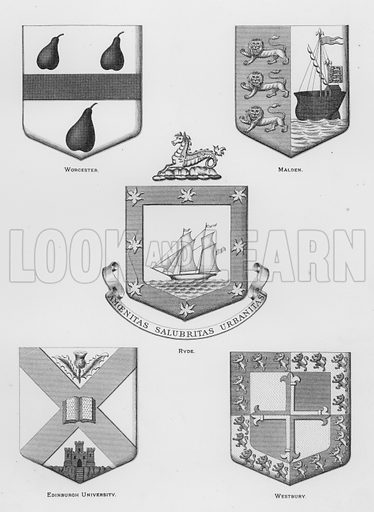 Worcester; Malden; Ryde; Edinburgh University; Westbury. Illustration for The Book of Public Arms, A Cyclopaedia, by Arthur Charles Fox-Davies and M E B Crookes (Jack, 1894).