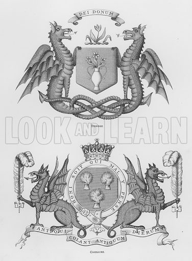 Dundee; Cheshire. Illustration for The Book of Public Arms, A Cyclopaedia, by Arthur Charles Fox-Davies and M E B Crookes (Jack, 1894).