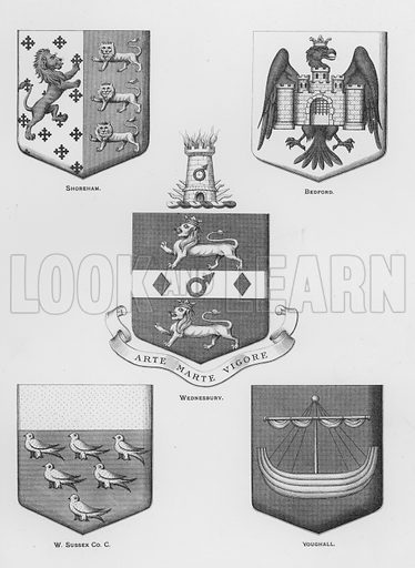 Shoreham; Bedford; Wednesbury; West Sussex County Council; Youghall. Illustration for The Book of Public Arms, A Cyclopaedia, by Arthur Charles Fox-Davies and M E B Crookes (Jack, 1894).