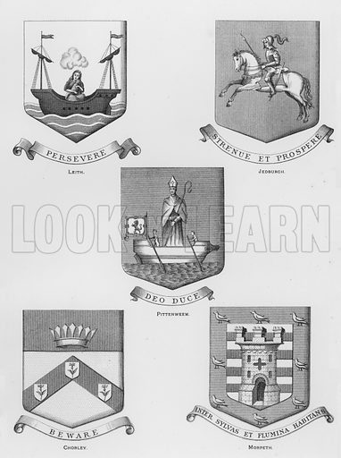 Leith; Jedburgh; Pittenweem; Chorley; Morpeth. Illustration for The Book of Public Arms, A Cyclopaedia, by Arthur Charles Fox-Davies and M E B Crookes (Jack, 1894).