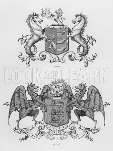 Ipswich; Appleby. Illustration for The Book of Public Arms, A Cyclopaedia, by Arthur Charles Fox-Davies and M E B Crookes (Jack, 1894).
