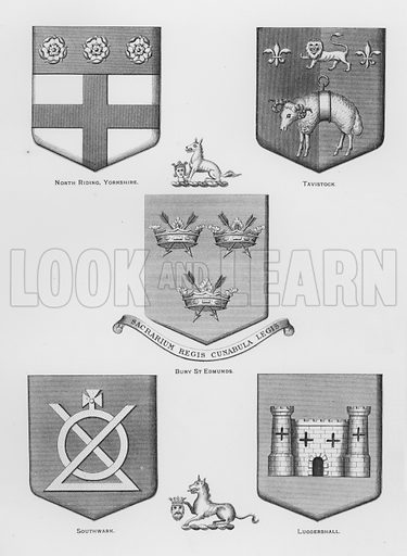 North Riding, Yorkshire; Tavistock; Bury St Edmunds; Southwark; Luggershall. Illustration for The Book of Public Arms, A Cyclopaedia, by Arthur Charles Fox-Davies and M E B Crookes (Jack, 1894).