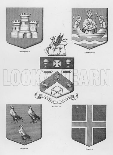 Barnstaple; Dartmouth; Barnsley; Dundalk; Durham. Illustration for The Book of Public Arms, A Cyclopaedia, by Arthur Charles Fox-Davies and M E B Crookes (Jack, 1894).