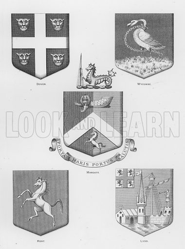 Dover; Wycombe; Margate; Kent; Lydd. Illustration for The Book of Public Arms, A Cyclopaedia, by Arthur Charles Fox-Davies and M E B Crookes (Jack, 1894).