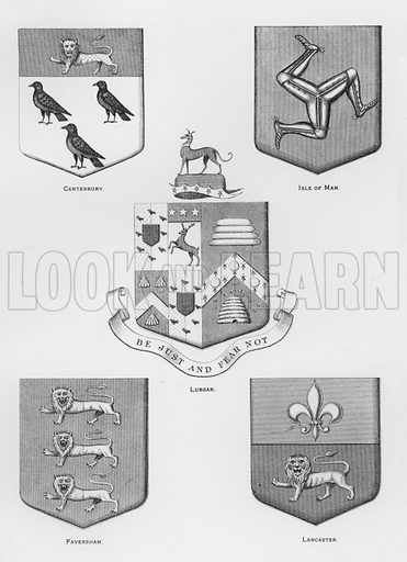 Canterbury; Isle of Man; Lurgan; Faversham; Lancaster. Illustration for The Book of Public Arms, A Cyclopaedia, by Arthur Charles Fox-Davies and M E B Crookes (Jack, 1894).