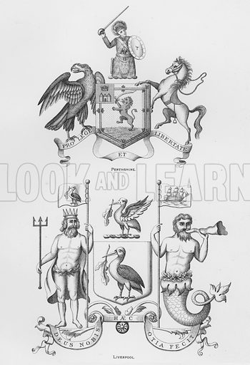 Perthshire; Liverpool. Illustration for The Book of Public Arms, A Cyclopaedia, by Arthur Charles Fox-Davies and M E B Crookes (Jack, 1894).