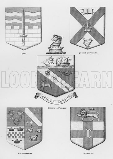Bath; Queen's University; Barrow in Furness; Aberdeenshire; Rochester. Illustration for The Book of Public Arms, A Cyclopaedia, by Arthur Charles Fox-Davies and M E B Crookes (Jack, 1894).