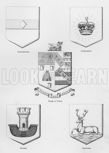 Chesterfield; Charlemont; Stoke on Trent; Orford; Hertford. Illustration for The Book of Public Arms, A Cyclopaedia, by Arthur Charles Fox-Davies and M E B Crookes (Jack, 1894).