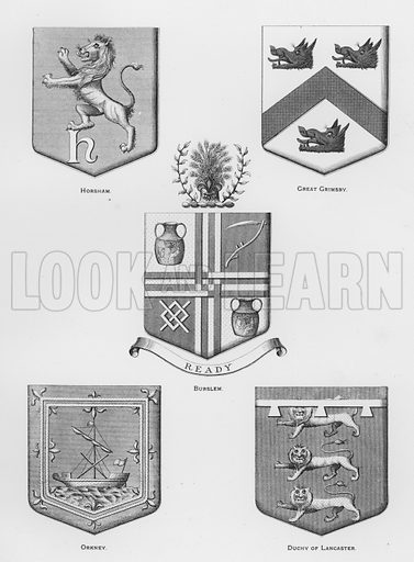 Horsham; Great Grimsby; Burslem; Orkney; Duchy of Lancaster. Illustration for The Book of Public Arms, A Cyclopaedia, by Arthur Charles Fox-Davies and M E B Crookes (Jack, 1894).