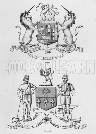 Bristol; Sheffield. Illustration for The Book of Public Arms, A Cyclopaedia, by Arthur Charles Fox-Davies and M E B Crookes (Jack, 1894).