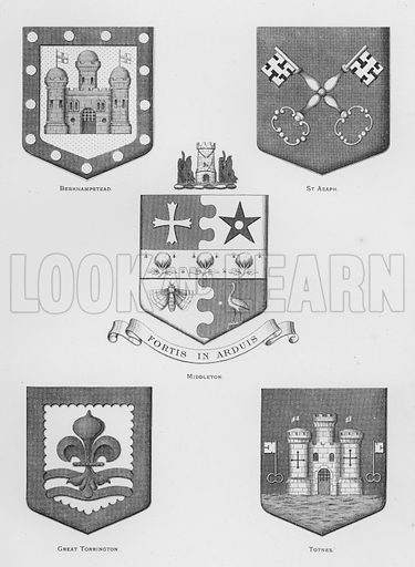 Berkhampstead; St Asaph; Middleton; Great Torrington; Totnes. Illustration for The Book of Public Arms, A Cyclopaedia, by Arthur Charles Fox-Davies and M E B Crookes (Jack, 1894).