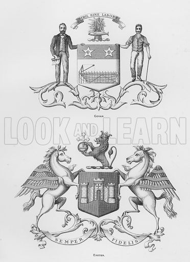 Govan; Exeter. Illustration for The Book of Public Arms, A Cyclopaedia, by Arthur Charles Fox-Davies and M E B Crookes (Jack, 1894).