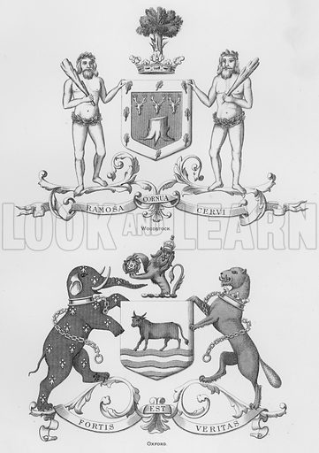 Woodstock; Oxford. Illustration for The Book of Public Arms, A Cyclopaedia, by Arthur Charles Fox-Davies and M E B Crookes (Jack, 1894).