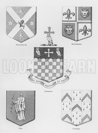 Stirlingshire; Shaftesbury; Dewsbury; Tain; Lichfield. Illustration for The Book of Public Arms, A Cyclopaedia, by Arthur Charles Fox-Davies and M E B Crookes (Jack, 1894).
