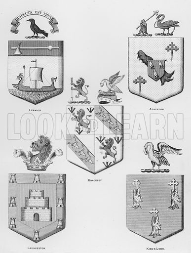 Lerwick; Atherton; Brackley; Launceston; King's Lynn. Illustration for The Book of Public Arms, A Cyclopaedia, by Arthur Charles Fox-Davies and M E B Crookes (Jack, 1894).