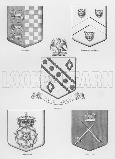 Stamford; Stratford-on-Avon; Heywood; Derbyshire; Thaxted. Illustration for The Book of Public Arms, A Cyclopaedia, by Arthur Charles Fox-Davies and M E B Crookes (Jack, 1894).