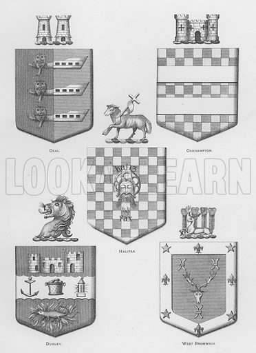 Deal; Oakhampton; Halifax; Dudley; West Bromwich. Illustration for The Book of Public Arms, A Cyclopaedia, by Arthur Charles Fox-Davies and M E B Crookes (Jack, 1894).