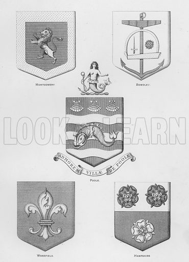Montgomery; Bewdley; Poole; Wakefield; Hampshire. Illustration for The Book of Public Arms, A Cyclopaedia, by Arthur Charles Fox-Davies and M E B Crookes (Jack, 1894).