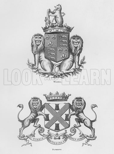 Walsall; Plymouth. Illustration for The Book of Public Arms, A Cyclopaedia, by Arthur Charles Fox-Davies and M E B Crookes (Jack, 1894).