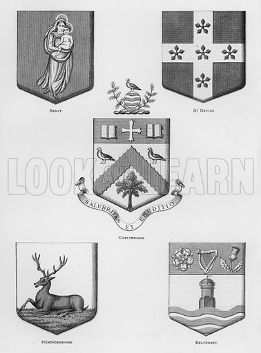 Banff; St Davids; Cheltenham; Hertfordshire; Belturbet. Illustration for The Book of Public Arms, A Cyclopaedia, by Arthur Charles Fox-Davies and M E B Crookes (Jack, 1894).