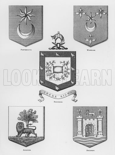 Portsmouth; Wareham; Rochdale; Andover; Bridport. Illustration for The Book of Public Arms, A Cyclopaedia, by Arthur Charles Fox-Davies and M E B Crookes (Jack, 1894).