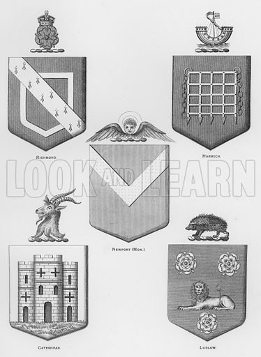 Richmond; Harwich; Newport, Monmouthshire; Gateshead; Ludlow. Illustration for The Book of Public Arms, A Cyclopaedia, by Arthur Charles Fox-Davies and M E B Crookes (Jack, 1894).