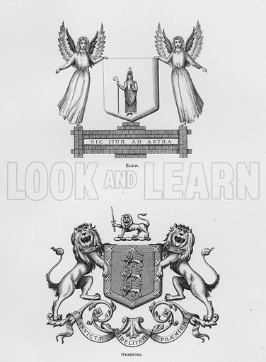 Elgin; Hereford. Illustration for The Book of Public Arms, A Cyclopaedia, by Arthur Charles Fox-Davies and M E B Crookes (Jack, 1894).