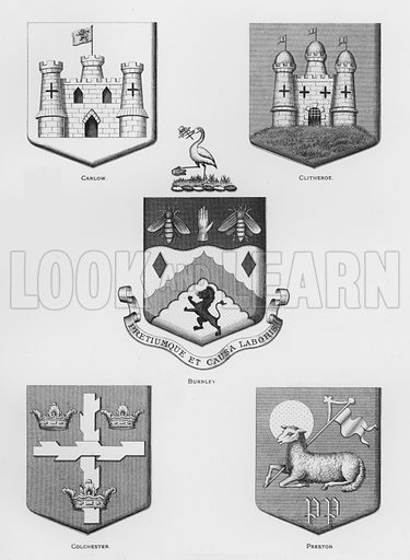 Carlow; Clitheroe; Burnley; Colchester; Preston. Illustration for The Book of Public Arms, A Cyclopaedia, by Arthur Charles Fox-Davies and M E B Crookes (Jack, 1894).