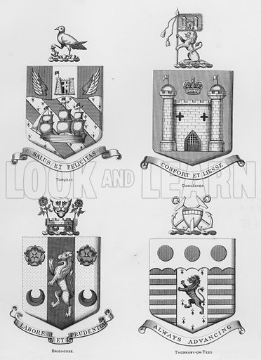 Torquay; Doncaster; Brighouse; Thornaby-on-Tees. Illustration for The Book of Public Arms, A Cyclopaedia, by Arthur Charles Fox-Davies and M E B Crookes (Jack, 1894).