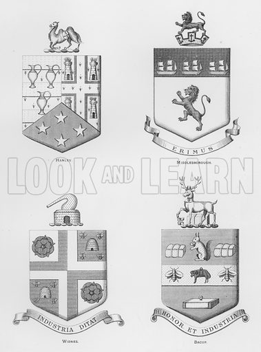 Hanley; Middlesborough; Widnes; Bacup. Illustration for The Book of Public Arms, A Cyclopaedia, by Arthur Charles Fox-Davies and M E B Crookes (Jack, 1894).
