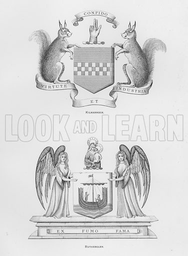 Kilmarnock; Rutherglen. Illustration for The Book of Public Arms, A Cyclopaedia, by Arthur Charles Fox-Davies and M E B Crookes (Jack, 1894).