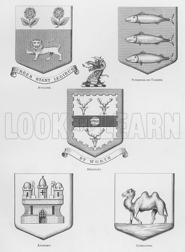 Athlone; Kingston-on-Thames; Keighley; Athenry; Camelford. Illustration for The Book of Public Arms, A Cyclopaedia, by Arthur Charles Fox-Davies and M E B Crookes (Jack, 1894).