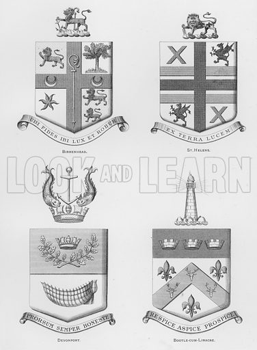 Birkenhead; St Helens; Devonport; Bootle-cum-Linacre. Illustration for The Book of Public Arms, A Cyclopaedia, by Arthur Charles Fox-Davies and M E B Crookes (Jack, 1894).