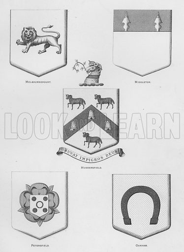 Melbournepourt; Middleton; Huddersfield; Petersfield; Oakham. Illustration for The Book of Public Arms, A Cyclopaedia, by Arthur Charles Fox-Davies and M E B Crookes (Jack, 1894).
