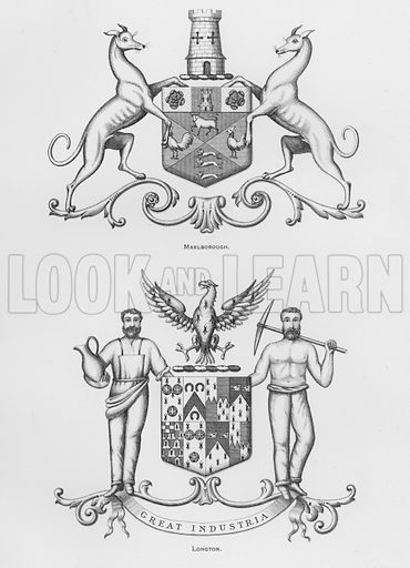Marlborough; Longton. Illustration for The Book of Public Arms, A Cyclopaedia, by Arthur Charles Fox-Davies and M E B Crookes (Jack, 1894).