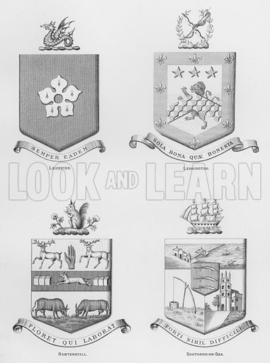Leicester; Leamington; Rawtenstall; Southend-on-Sea. Illustration for The Book of Public Arms, A Cyclopaedia, by Arthur Charles Fox-Davies and M E B Crookes (Jack, 1894).