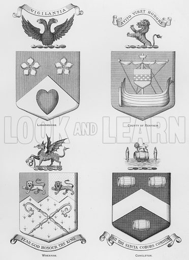 Lanarkshire; County of Renfrew; Wrexham; Congleton. Illustration for The Book of Public Arms, A Cyclopaedia, by Arthur Charles Fox-Davies and M E B Crookes (Jack, 1894).