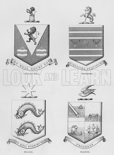 Tunbridge Wells; Eastbourne; Brighton; Blackpool. Illustration for The Book of Public Arms, A Cyclopaedia, by Arthur Charles Fox-Davies and M E B Crookes (Jack, 1894).